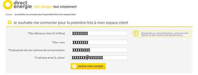 activation compte en ligne direct energie