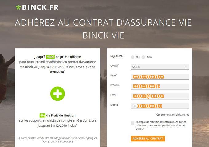 inscription contrat assurance vie en ligne binck.fr