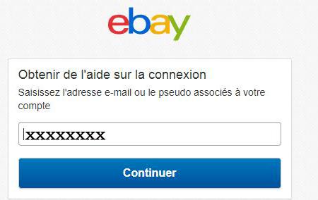 Réinitialiser le mot de passe du compte ebay