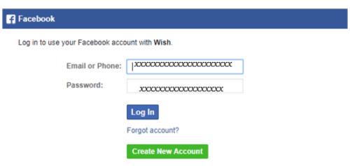 Ouvrir un compte wish avec facebook