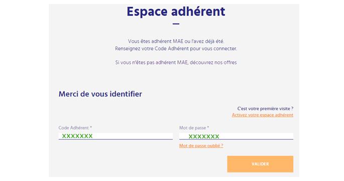 se connecter à mon compte en ligne mae.fr