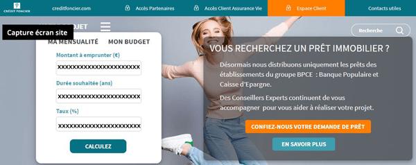 identification à l'espace client Crédit Foncier sur le site www.creditfoncier.fr
