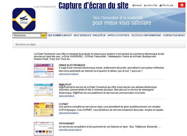 services en ligne de la poste tunisienne
