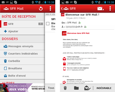 application mobile sfr mail