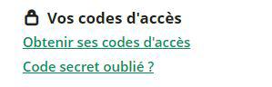 code d'acces compte client perdus