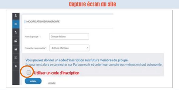 code inscription parcoureo