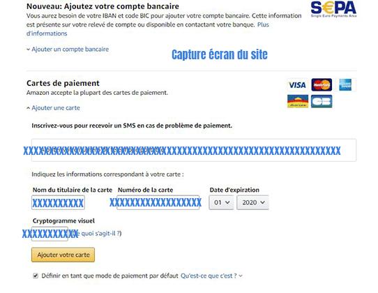 Ajouter nouvelle carte credit sur Amazon