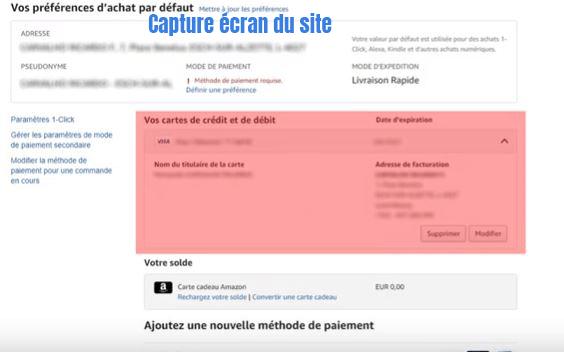 desactiver carte bancaire sur amazon.fr