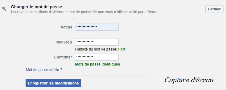 modification mot de passe Facebok