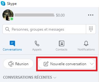 créer une nouvelle conversation skype sur pc