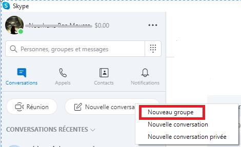 créer un nouveau groupe skype sur pc